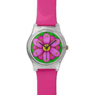 Pink Daisy Flower on Green Beautiful Wrist Watch