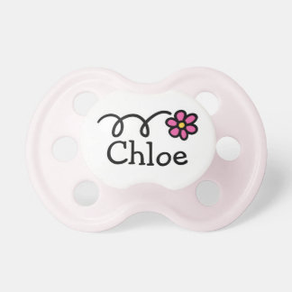 Pink daisy flower pacifier for baby name Chloe
