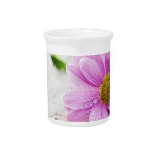 Pink Daisy Flower Porcelain Pitcher