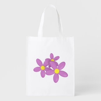 Pink Daisy Flower Reusable shopping bag Grocery Bags