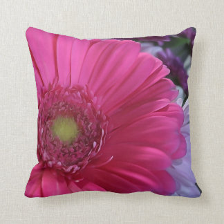 Pink Daisy Flower Throw Pillow
