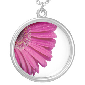 Pink daisy flower with water droplets beautiful personalized necklace