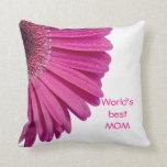 Pink daisy flower world's best mom custom gift throw pillows