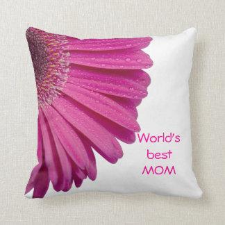 Pink daisy flower world's best mom custom gift throw pillow
