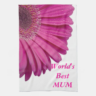 Pink daisy flower world's best mum beautiful gift kitchen towel