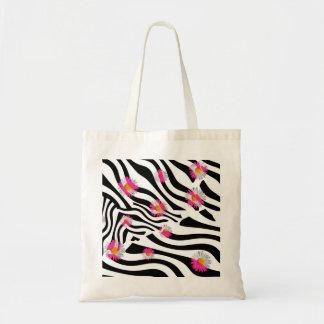 Pink Daisy Flowers Black White Zebra Stripes Tote Bag