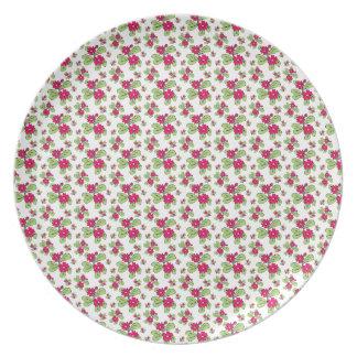 Pink Daisy Flowers Melamine Plate