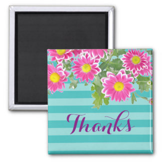 """Pink Daisy Flowers on Turquoise Stripes """"Thanks"""" Magnet"""