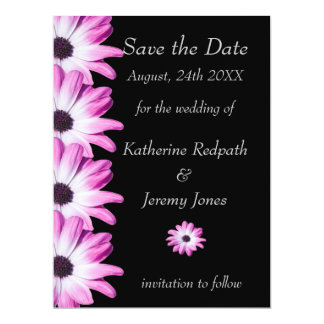 Pink daisy flowers save the date announcement