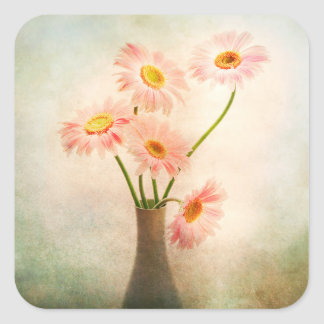 Pink Daisy Flowers Vase Daisies Watercolor Flower Square Sticker