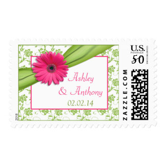 Pink Daisy Green Damask Floral Wedding Postage