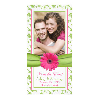 Pink Daisy Green Floral Ribbon Wedding Save Date Card