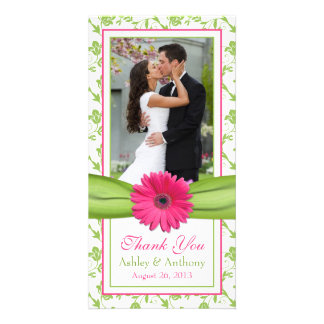 Pink Daisy Green Floral Ribbon Wedding Thank You Photo Card