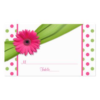 Pink Daisy Green Polka Dot Ribbon Place Cards