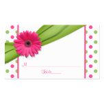 Pink Daisy Green Polka Dot Ribbon Place Cards Double-Sided Standard Business Cards (Pack Of 100)
