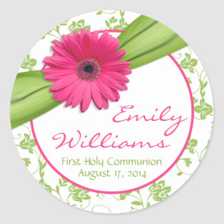 Pink Daisy Green White Floral First Communion Classic Round Sticker