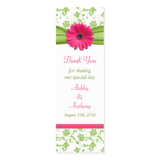 Pink Daisy Green White Floral Wedding Favor Tags Mini Business Card