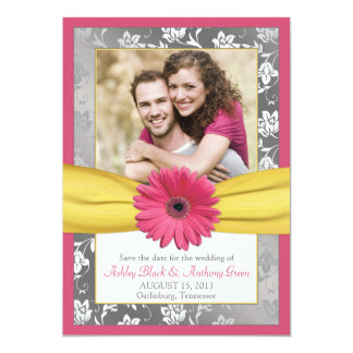 Pink Daisy Grey Yellow Damask Photo Save the Date Card