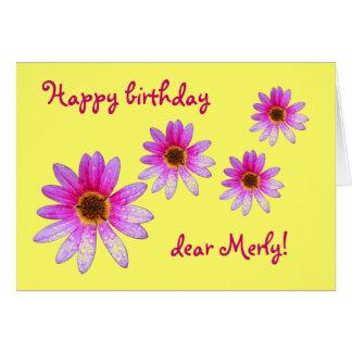 Pink Daisy Happy Birthday Merly card