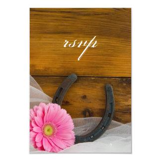 Pink Daisy Horseshoe Country Wedding RSVP Card