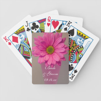 Pink Daisy in Vase Wedding Playing Cards Bicycle Playing Cards