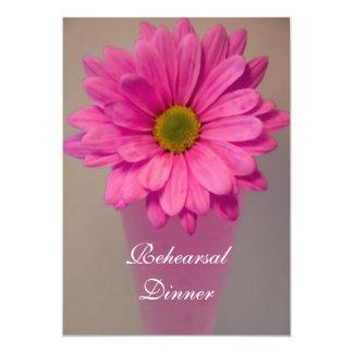 Pink Daisy in Vase Wedding Rehearsal Dinner Invite