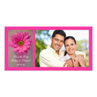 Pink Daisy in Vase Wedding Save the Date Card
