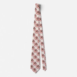 Pink Daisy - Mink Leather Texture Image Background Neck Tie