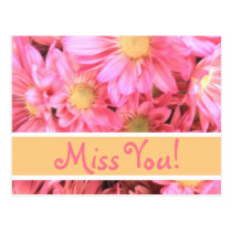 """Pink Daisy """"Miss You"""" postcard"""