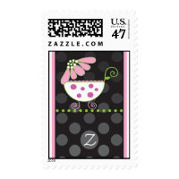 Pink Daisy Monogram Baby Carriage Stamp
