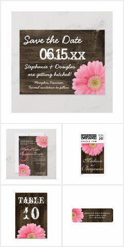 Pink Daisy on Barn Wood Wedding Invitation Set