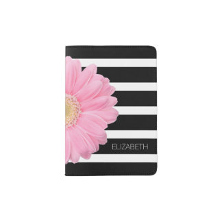 Pink Daisy on Black and White Stripes Personalized Passport Holder