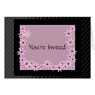 Pink Daisy on Black Background Invitations Card