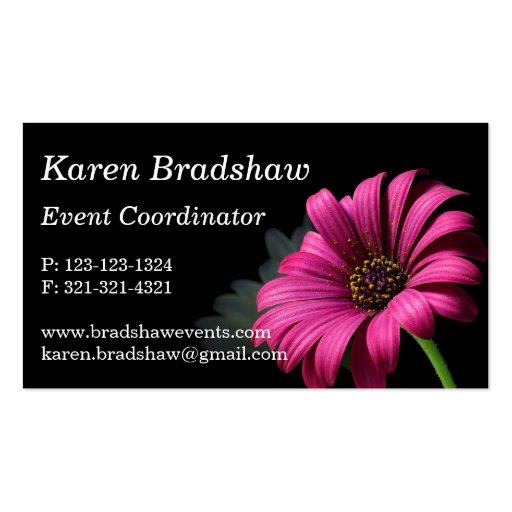 Pink Daisy on Black Event Planner Business Cards
