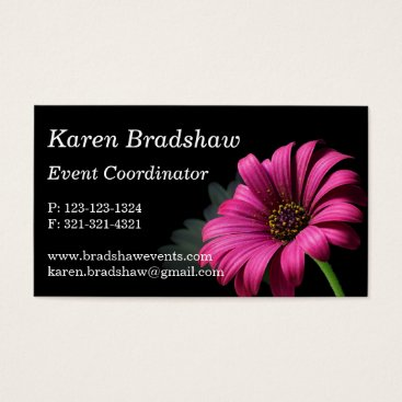 Professional Business Pink Daisy on Black Event Planner Business Cards
