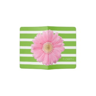 Pink Daisy on Green and White Stripes Personalized Passport Holder