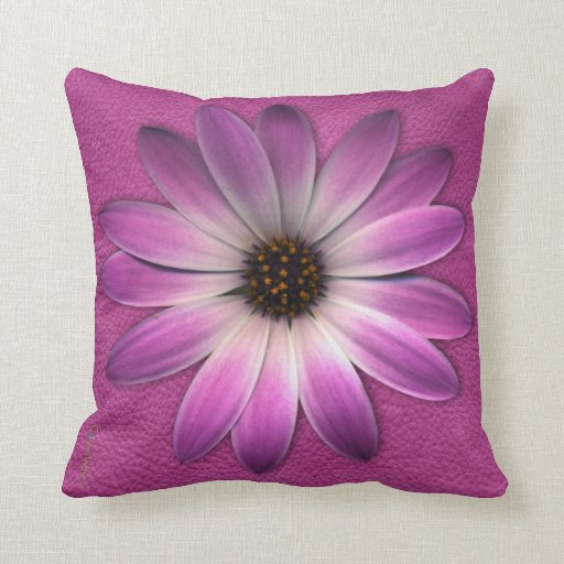 Pink Daisy on Magenta Leather Texture Pillow