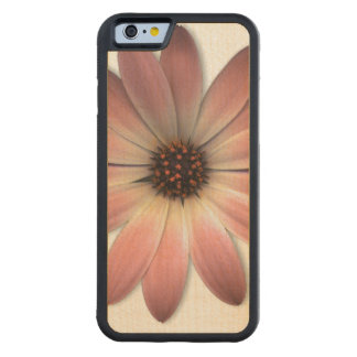 Pink daisy on Mink Leather Print Carved® Maple iPhone 6 Bumper