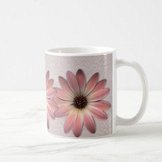 Pink Daisy on Mink Leather Print Coffee Mug
