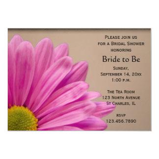 Pink Daisy on Tan Bridal Shower 5x7 Paper Invitation Card