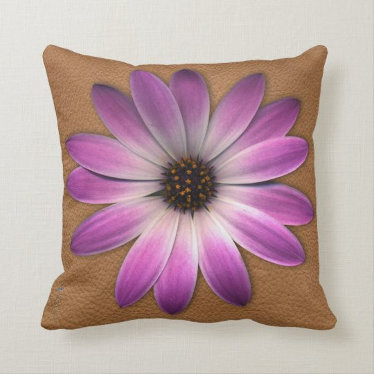 Pink Daisy on Tan Leather Texture Pillow