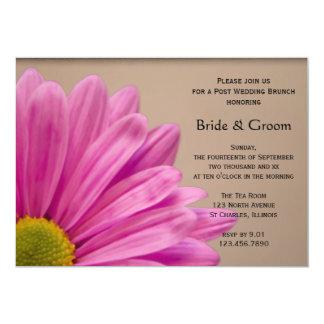 Pink Daisy on Tan Post Wedding Brunch 5x7 Paper Invitation Card