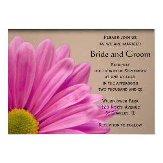Pink Daisy on Tan Wedding 5x7 Paper Invitation Card