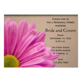 Pink Daisy on Tan Wedding Rehearsal Dinner 5x7 Paper Invitation Card