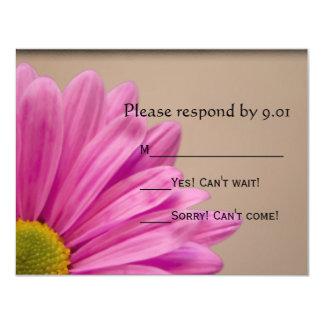 Pink Daisy on Tan Wedding RSVP Response Card