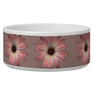 Pink Daisy on Taupe Leather Print Bowl