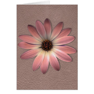 Pink Daisy on Taupe Leather Print Greeting Card