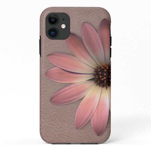 Pink Daisy on Taupe Leather Print iPhone 11 Case