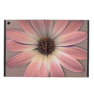 Pink Daisy on Taupe Leather Print iPad Air Cover