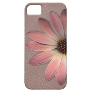 Pink Daisy on Taupe Leather Print iPhone SE/5/5s Case
